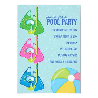 Invitaciones de la fiesta en la piscina del invitación 12,7 x 17,8 cm