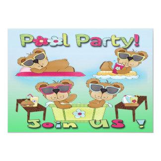 Invitaciones de la fiesta en la piscina del oso de anuncios