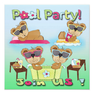 Invitaciones de la fiesta en la piscina del oso de invitación 13,3 cm x 13,3cm