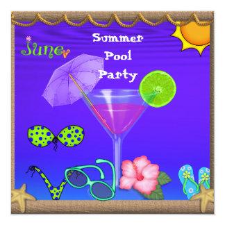 Invitaciones de la fiesta en la piscina del verano invitaciones personalizada