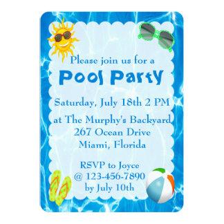 Invitaciones de la fiesta en la piscina del verano invitación 12,7 x 17,8 cm