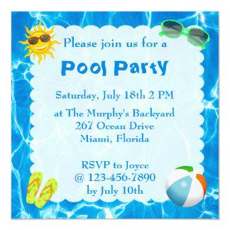 Invitaciones de la fiesta en la piscina del verano invitación 13,3 cm x 13,3cm