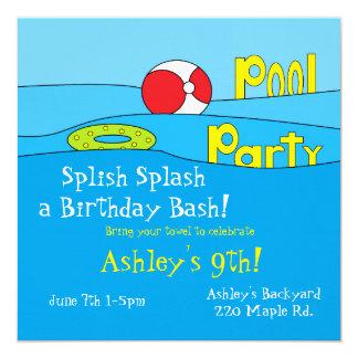 """Invitaciones de la """"fiesta en la piscina"""" invitación 13,3 cm x 13,3cm"""