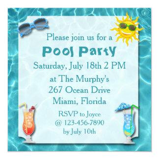 Invitaciones de la fiesta en la piscina invitación 13,3 cm x 13,3cm