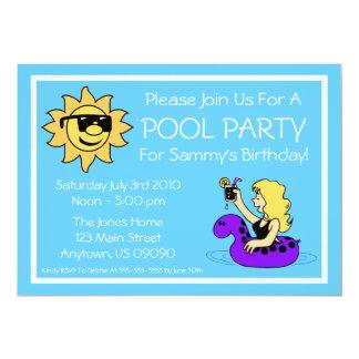 Invitaciones de la fiesta en la piscina (tubo invitación 12,7 x 17,8 cm