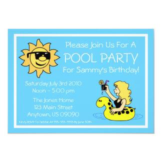 Invitaciones de la fiesta en la piscina (tubo comunicado personal