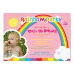 Invitaciones de la foto del fiesta del arco iris invitaciones personalizada