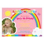 Invitaciones de la foto del fiesta del arco iris p invitaciones personalizada