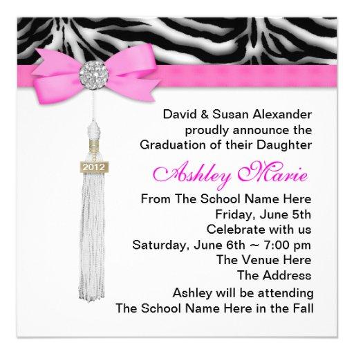 Pink Zebra Graduation Announcements