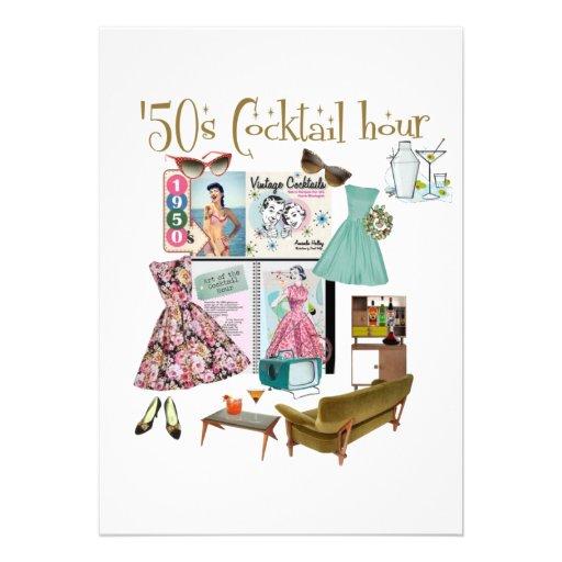 invitaciones de la hora del cóctel de los años 50 invitación