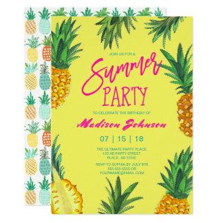 Invitaciones de la piña el | del fiesta el | del invitación 12,7 x 17,8 cm