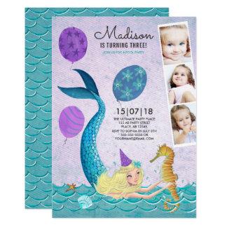Invitaciones de la sirena el | del cumpleaños el | invitación 12,7 x 17,8 cm