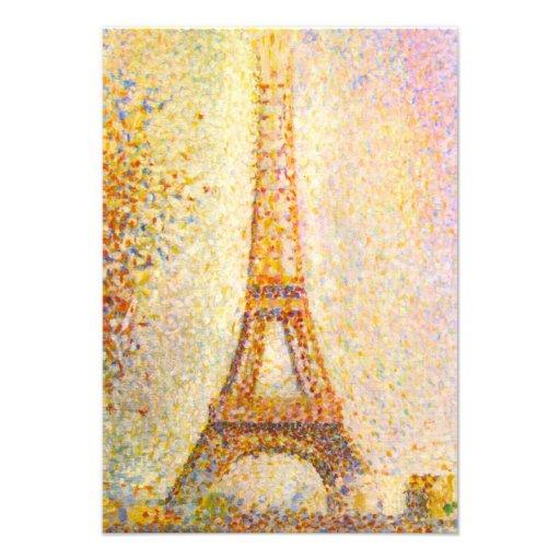 Invitaciones de la torre Eiffel de Seurat Invitaciones Personalizada