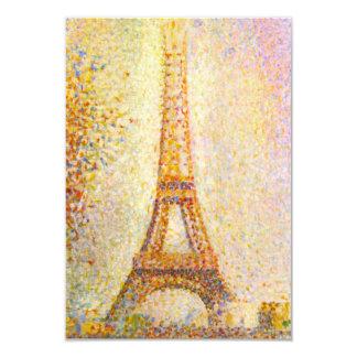 Invitaciones de la torre Eiffel de Seurat Invitación 8,9 X 12,7 Cm