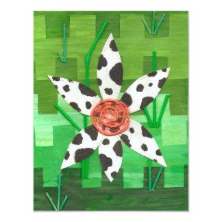 Invitaciones de la vaca de la margarita invitación 10,8 x 13,9 cm