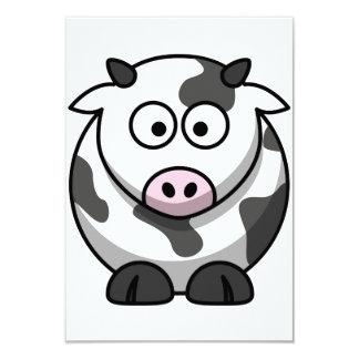 Invitaciones de la vaca del dibujo animado invitación 8,9 x 12,7 cm