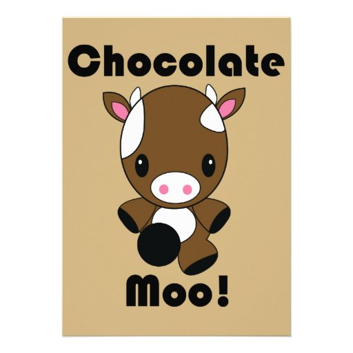 Invitaciones de la vaca del MOO Kawaii del chocola Comunicados Personalizados