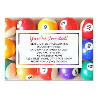 Invitaciones de las bolas de piscina invitación 12,7 x 17,8 cm