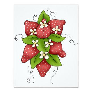 Invitaciones de las fresas y de los flores invitación 10,8 x 13,9 cm