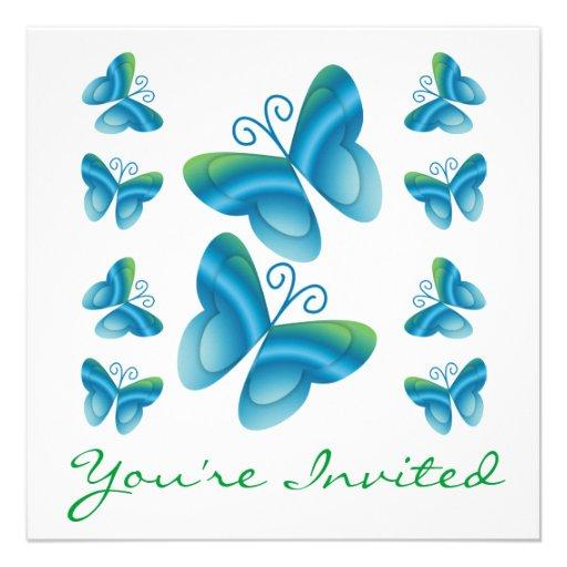 Invitaciones de las mariposas de la reunión de fam anuncio