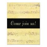 Invitaciones de las notas musicales de la invitación 10,8 x 13,9 cm