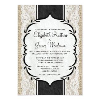 Invitaciones de lino blancas negras del boda del invitación 12,7 x 17,8 cm