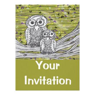 Invitaciones de los búhos y de las mariposas invitacion personal