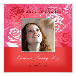Invitaciones de los rosas rosados/rojos invitación 13,3 cm x 13,3cm