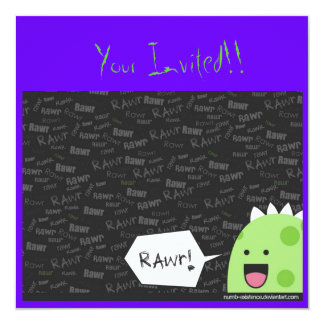 Invitaciones de Luv del dinosaurio Invitación 13,3 Cm X 13,3cm