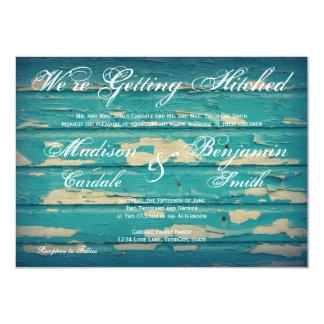 Invitaciones de madera del boda de la turquesa invitación 11,4 x 15,8 cm