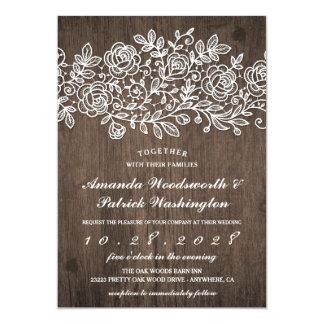 Invitaciones de madera del boda del cordón del