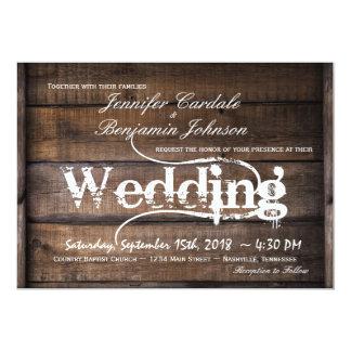 Invitaciones de madera del boda del país del invitación 12,7 x 17,8 cm
