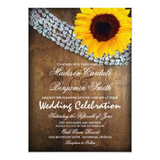 Invitaciones de madera rústicas del boda de la invitación 12,7 x 17,8 cm