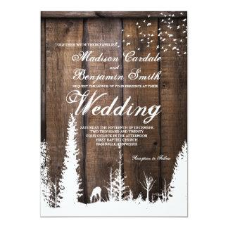Invitaciones de madera rústicas del boda del árbol