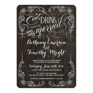 Invitaciones de madera rústicas del boda del invitación 12,7 x 17,8 cm