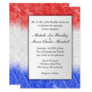 Invitaciones de mármol blancas y azules rojas del