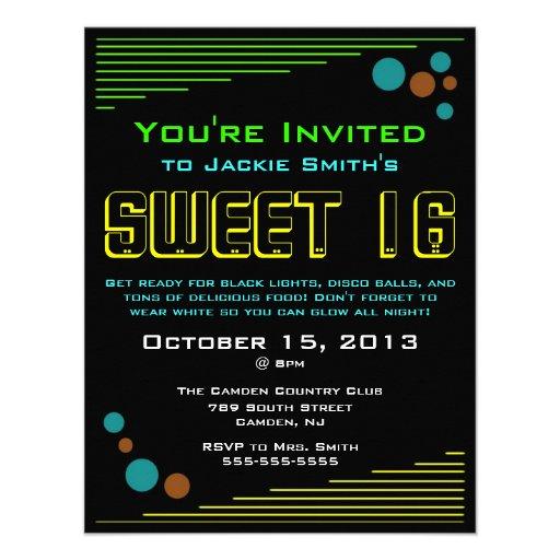 Invitaciones de neón del dulce 16 anuncio personalizado