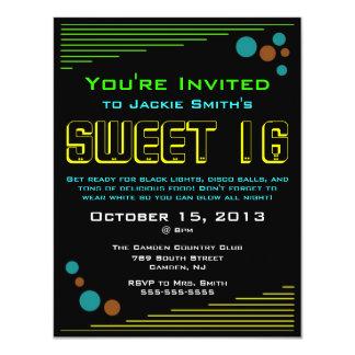 Invitaciones de neón del dulce 16 invitación 10,8 x 13,9 cm