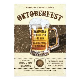 Invitaciones de Oktoberfest - vintage v.2 rústico Invitación 12,7 X 17,8 Cm