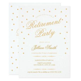 Invitaciones de oro del fiesta de retiro