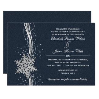 Invitaciones de plata azules del boda del invierno