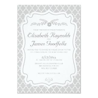Invitaciones de plata del boda de Quatrefoil Invitación 12,7 X 17,8 Cm