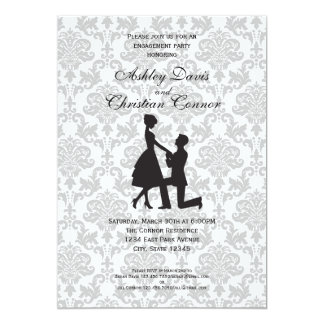 Invitaciones de plata del damasco invitación 12,7 x 17,8 cm