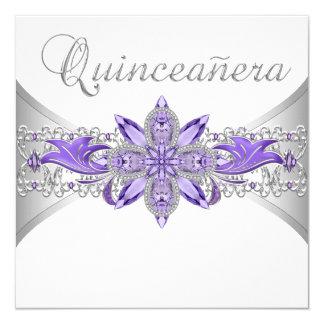 Invitaciones de plata púrpuras de Quinceanera de Invitación 13,3 Cm X 13,3cm