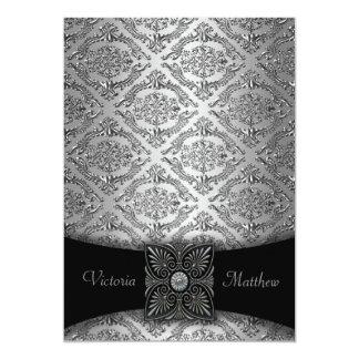Invitaciones de plata y negras del boda del invitación 12,7 x 17,8 cm