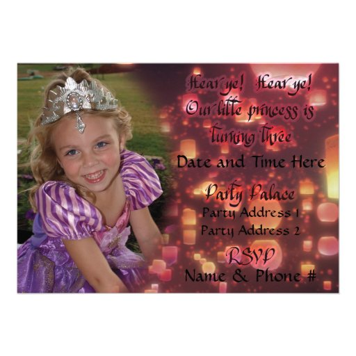 Invitaciones de princesa Turning 3 para el cumplea Comunicado Personalizado