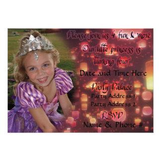 Invitaciones de princesa Turning 4 para el cumplea Invitaciones Personalizada