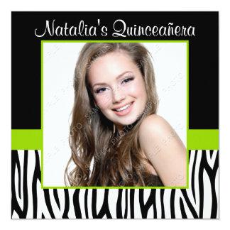 Invitaciones de Quinceanera de la foto de la verde Invitación 13,3 Cm X 13,3cm