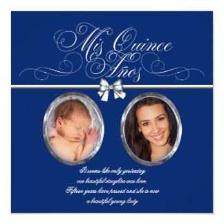 Invitaciones de Quinceanera de la foto del azul Invitación 13,3 Cm X 13,3cm