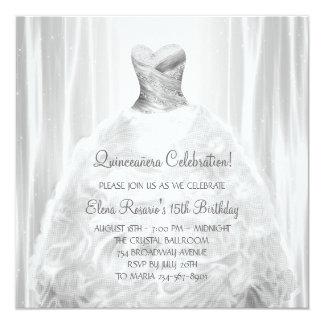 Invitaciones de Quinceanera del blanco de vestido Invitación 13,3 Cm X 13,3cm